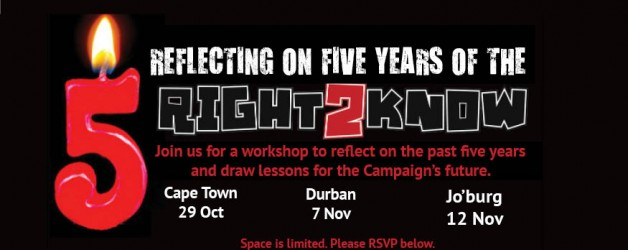 Invite: Reflecting on five years of the Right2Know