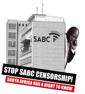 SABC protest banner