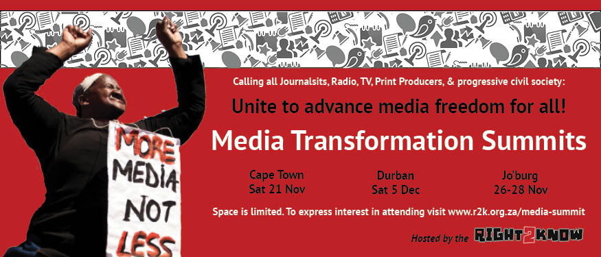 South African-based Right2Know Campaign is hosting a series of conferences to explore how the country's media environment can be improved. Read the report: Media Transformation & the Right to Communicate